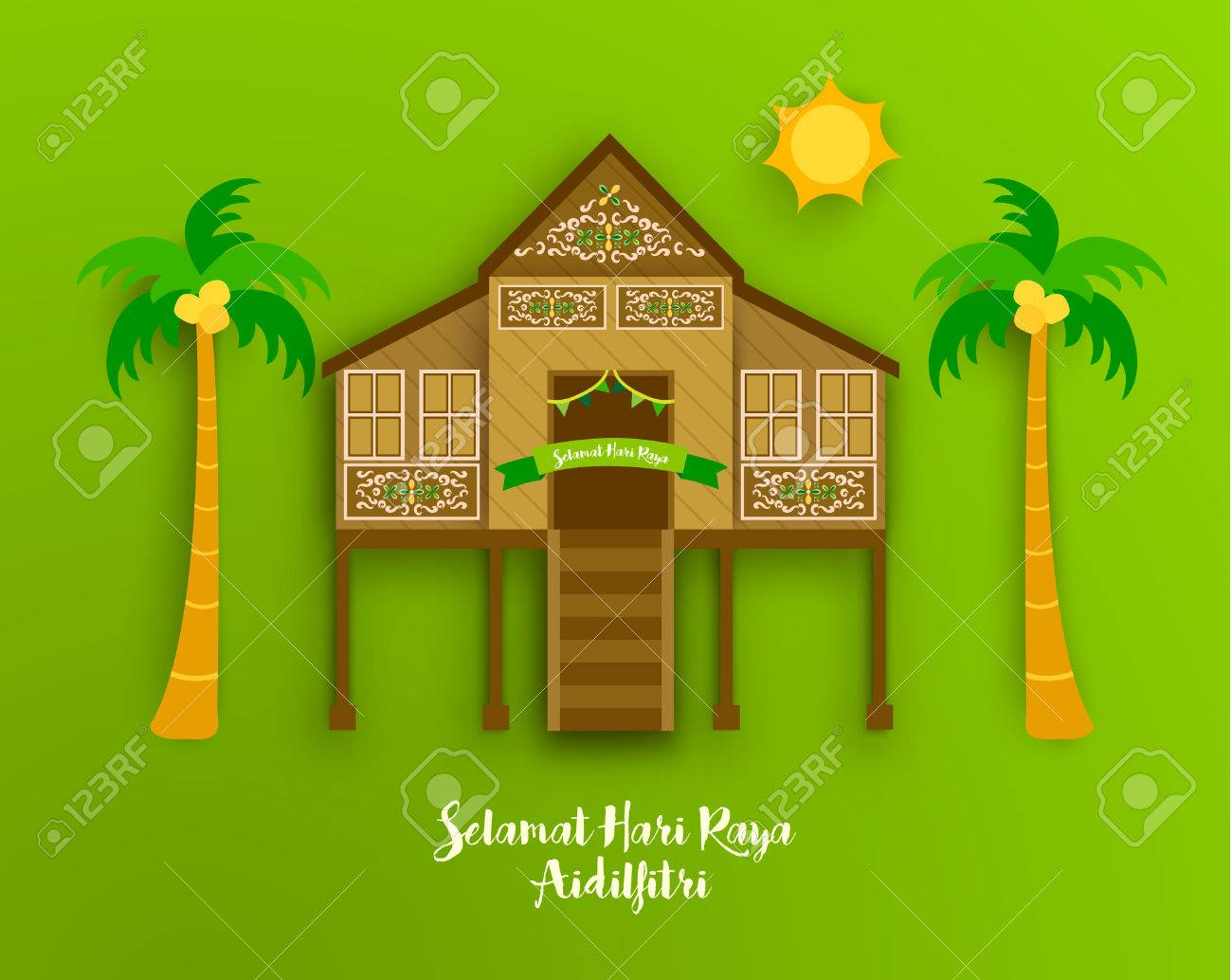 Eid Al Fitr Celebration greeting Vector Design Illustration - 62025181