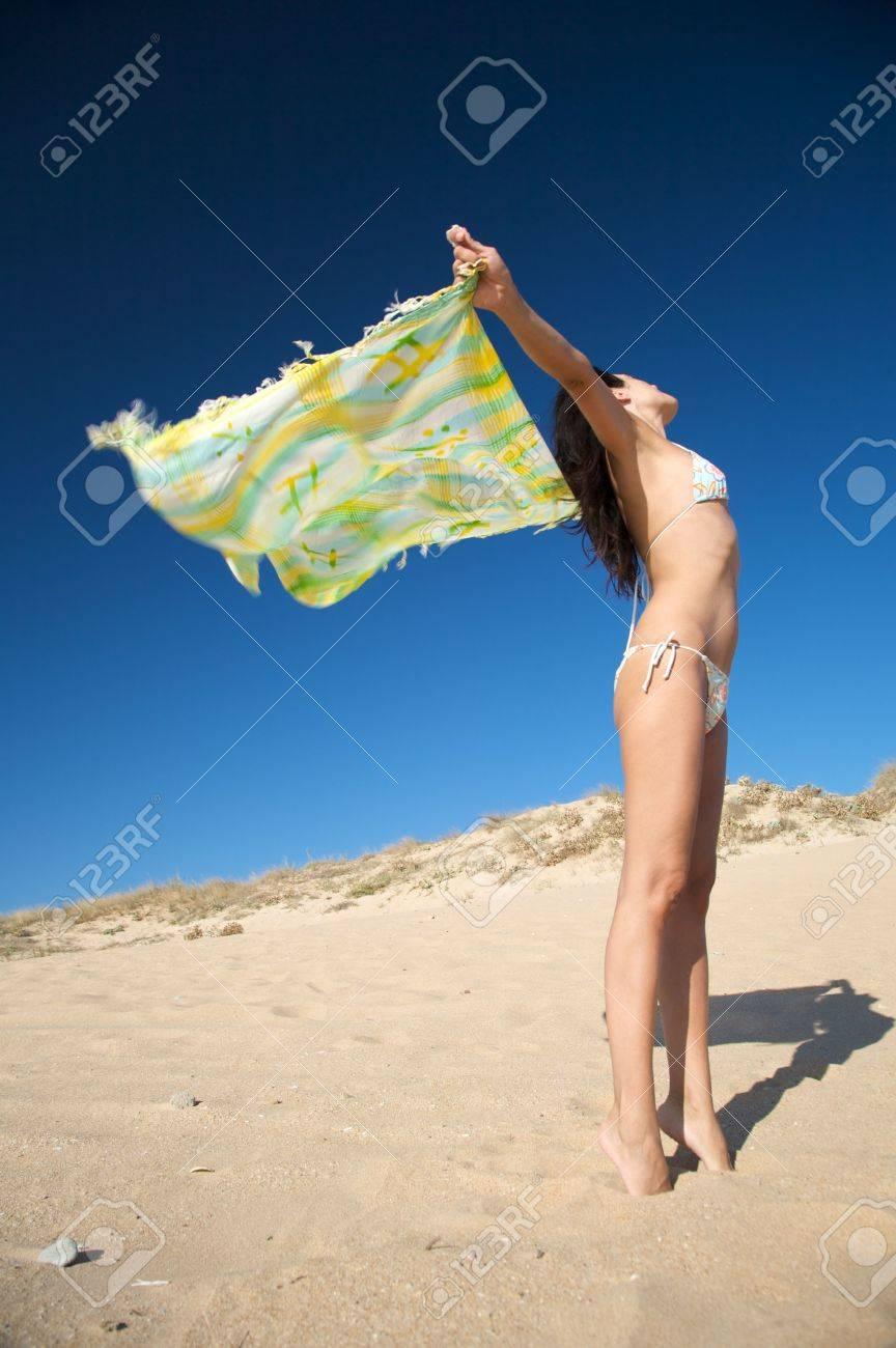 woman with beach wrap at el palmar beach in cadiz spain Stock Photo - 3628886