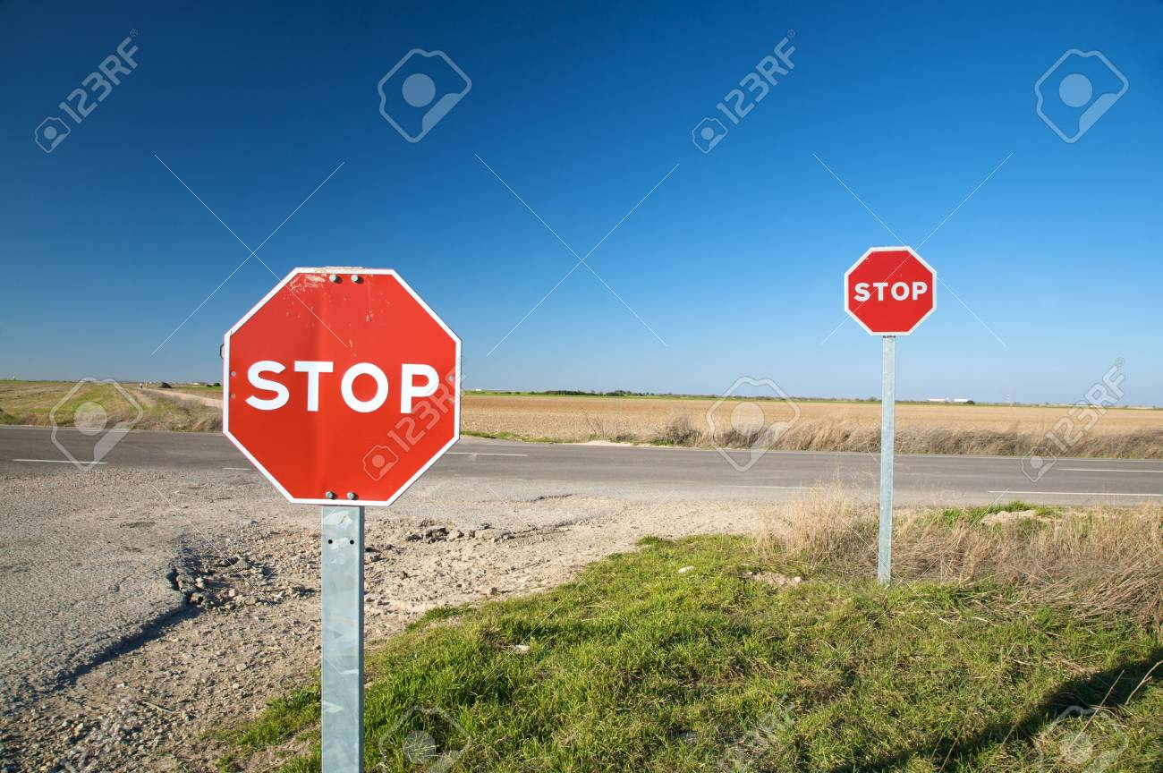 Stop Signs in Spain Stop Traffic Sign Next to Road