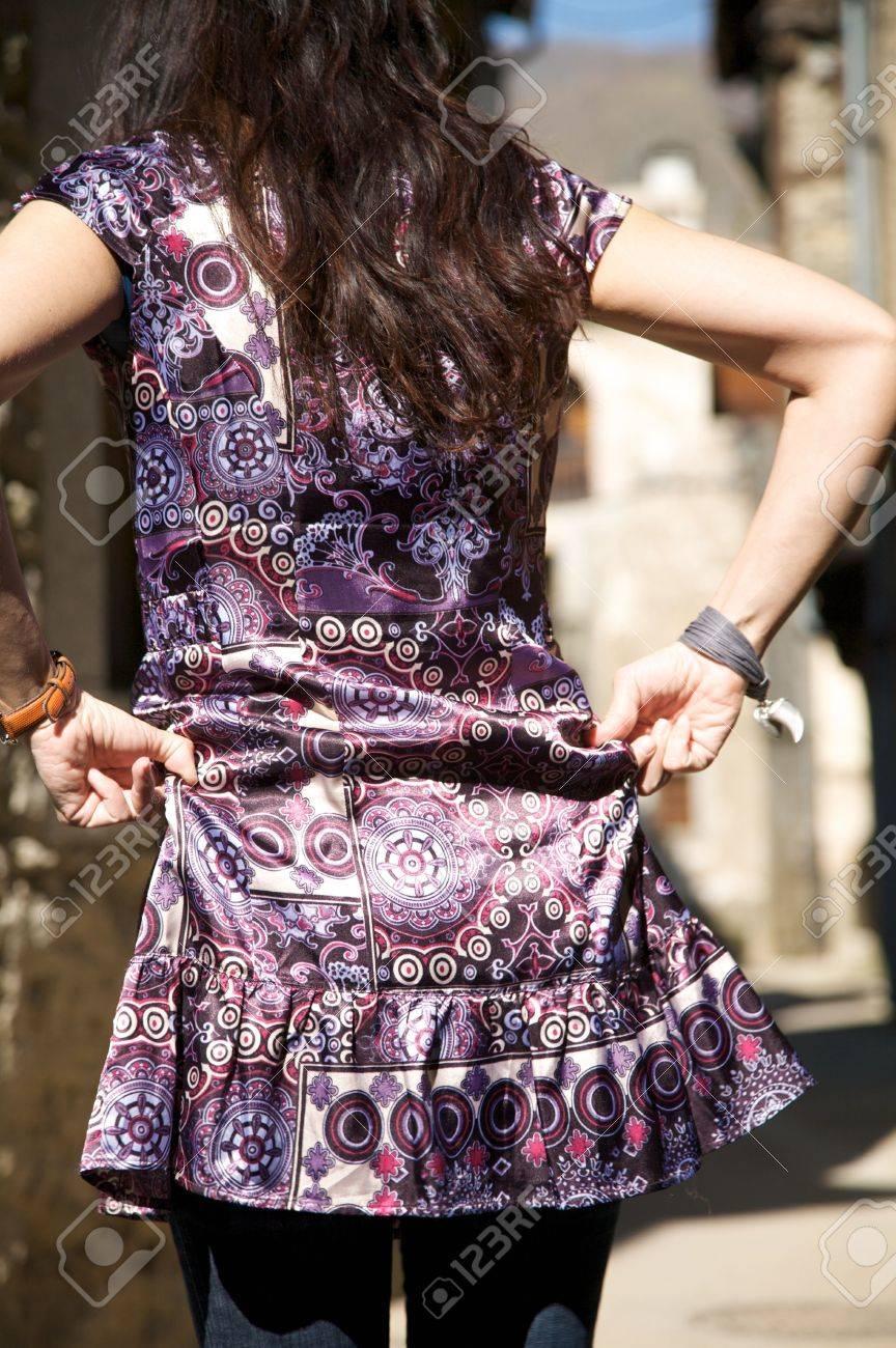 woman placing her dress at san martin village in salamanca spain Stock Photo - 5578060