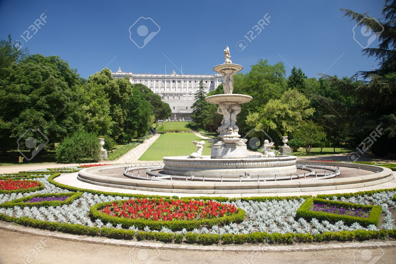 public garden free access next to Royal palace at Madrid Spain Stock Photo - 10977182