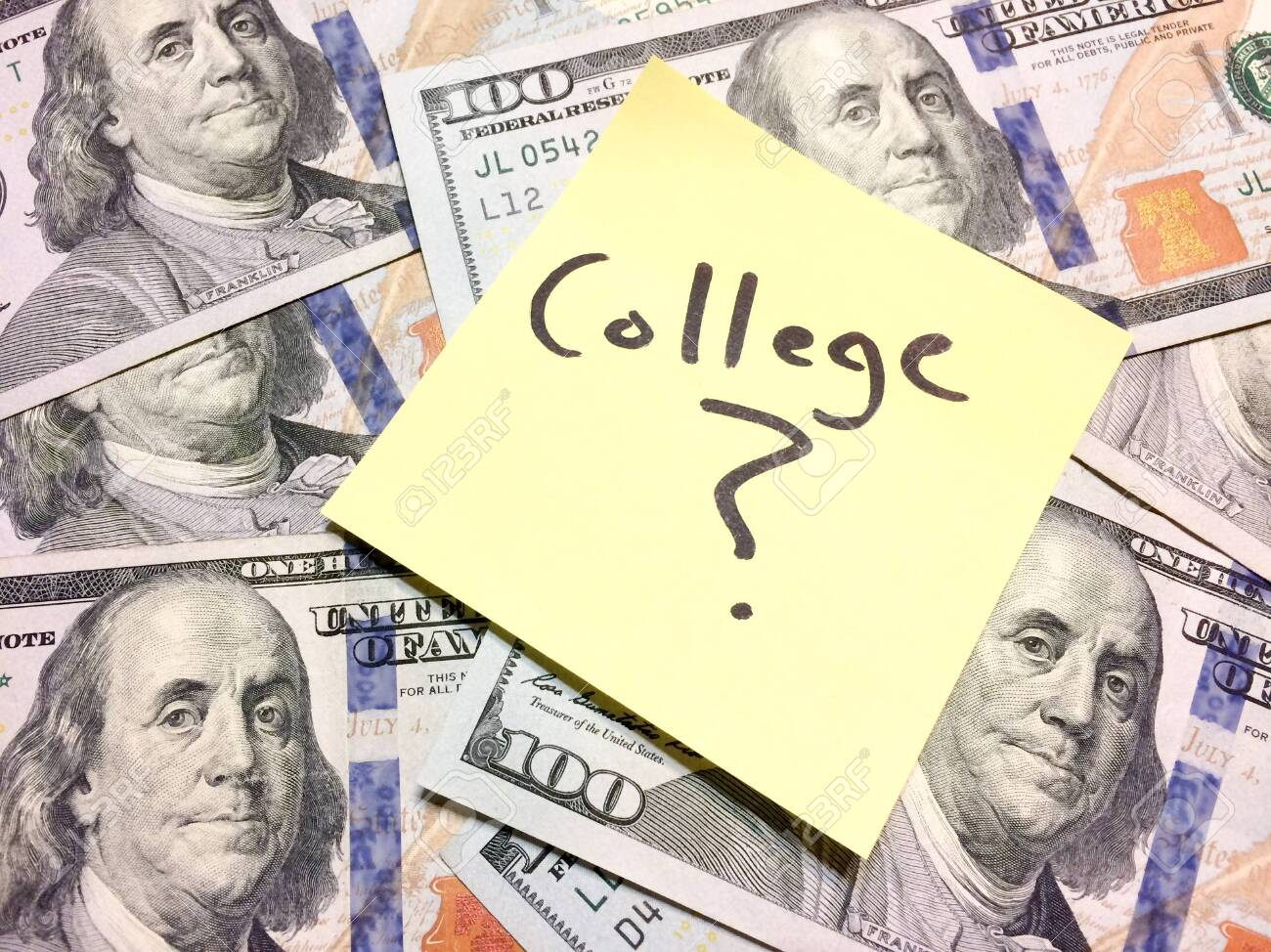 Post It Note With Hardwritten College With Question Mark On Money.. Stock  Photo, Picture And Royalty Free Image. Image 139271566.
