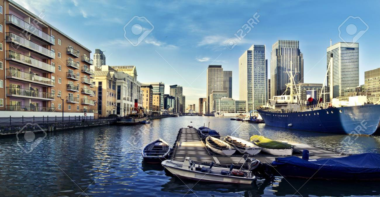 Skyline of Canary Wharf view from West India Millwall Docks This
