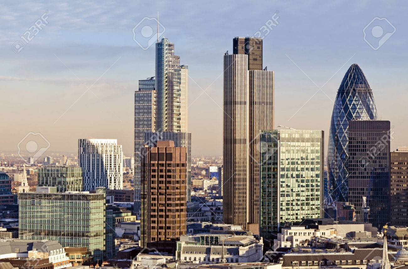 City of London one of the leading centres of global finance. This view includes Tower 42 Gherkin,Willis Building, Stock Exchange Tower and Lloyds of London. - 43748917
