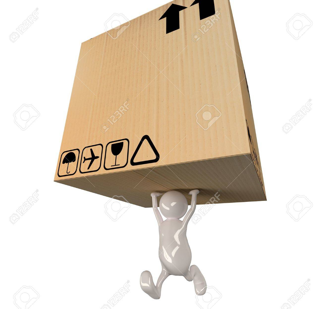 3d people man delivering big cardboard box Stock Photo - 15327098