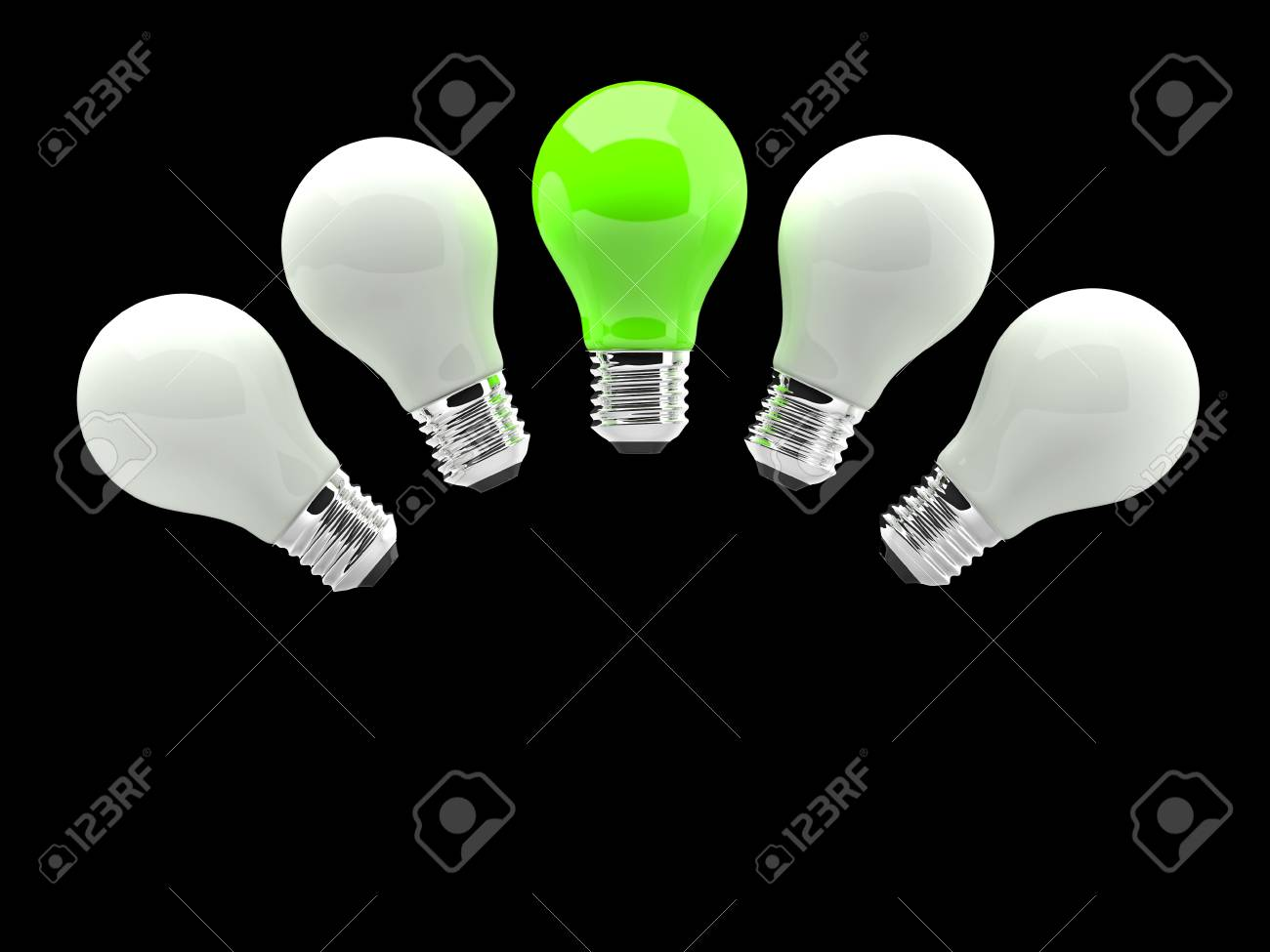 Lighting Bulb White and One Green Stock Photo - 17530631