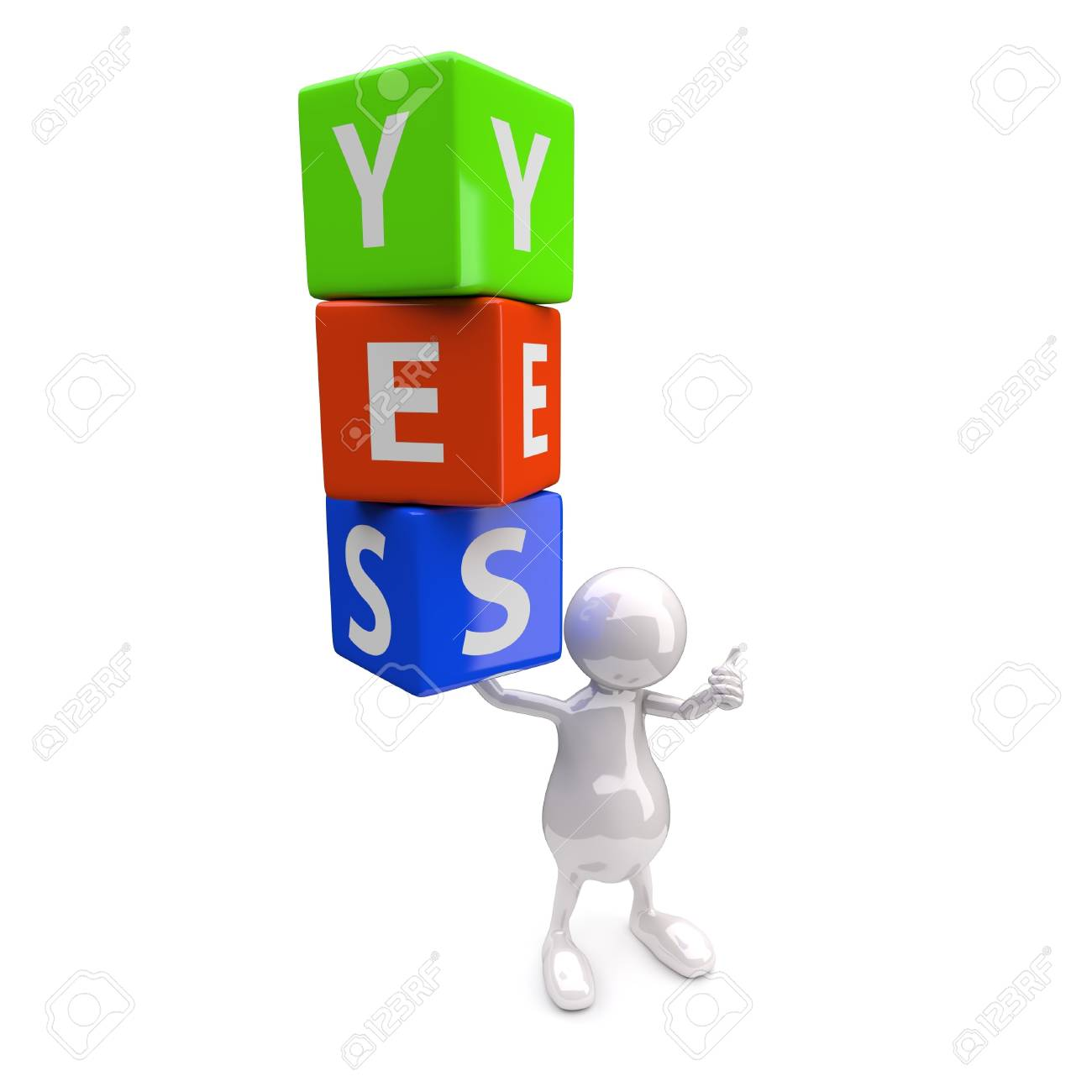 3D People with Word Yes on White Background Stock Photo - 17745430