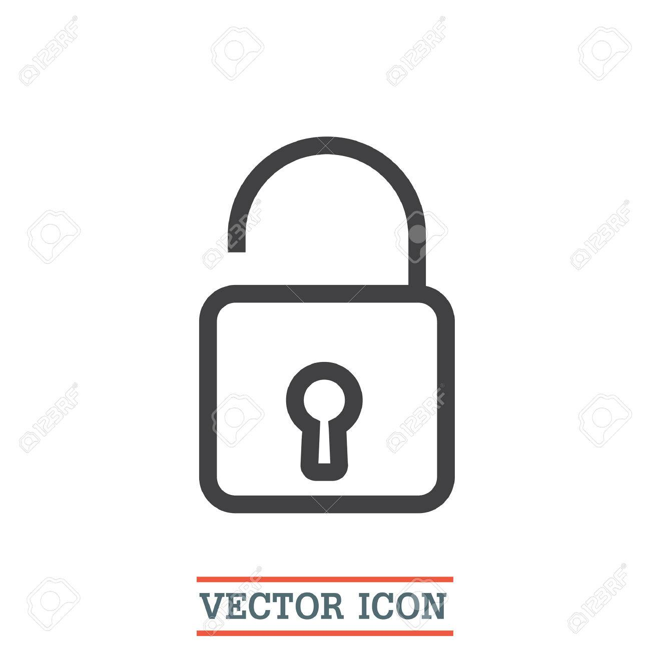 Padlock sign line vector icon  Open lock sign icon  Protection