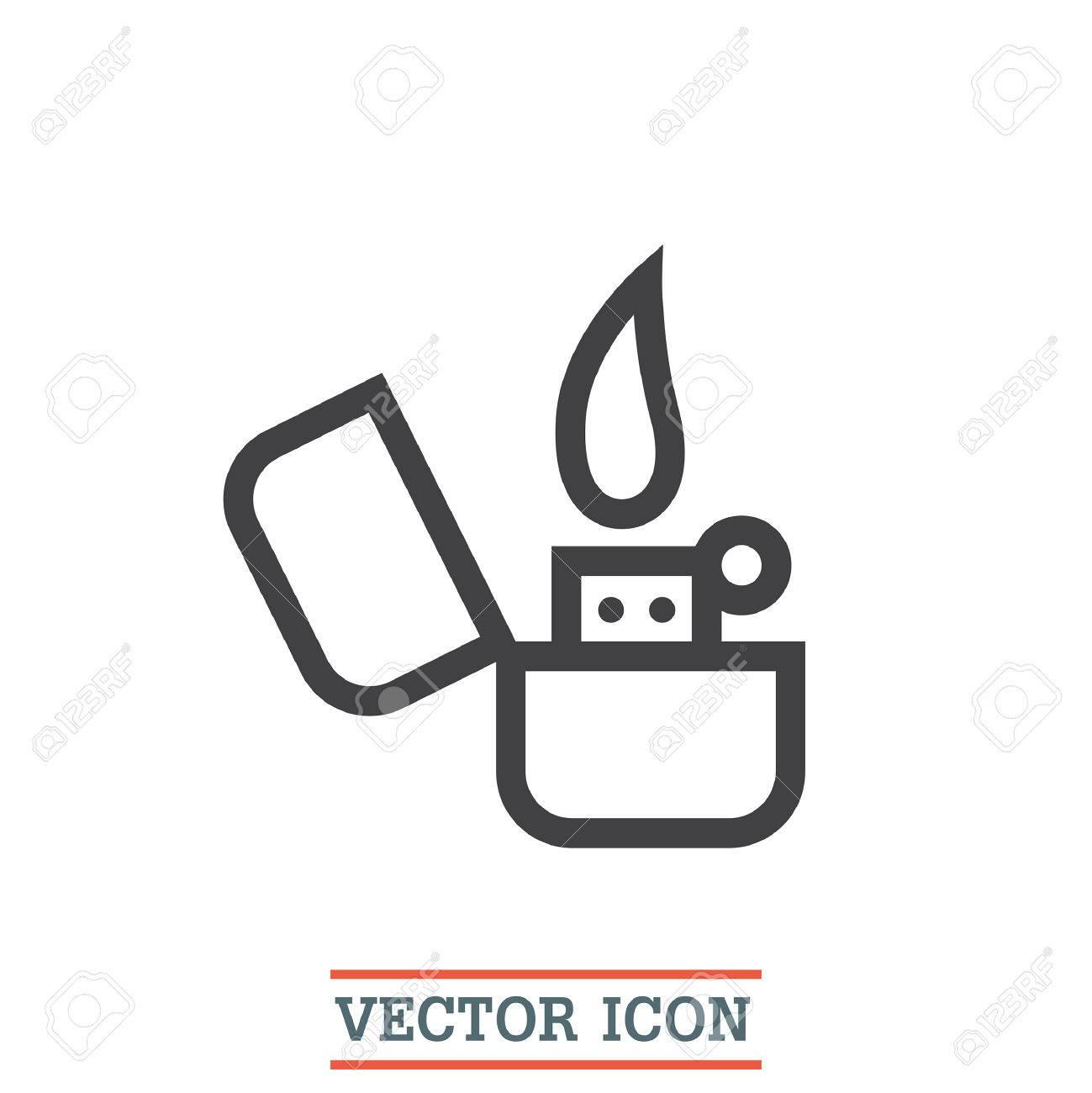 lighter sign line vector icon tobacco burner sign cigarette