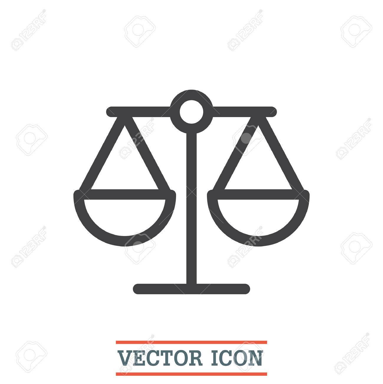 Scales Sign Line Vector Icon Justice Symbol Icon Balance Sign