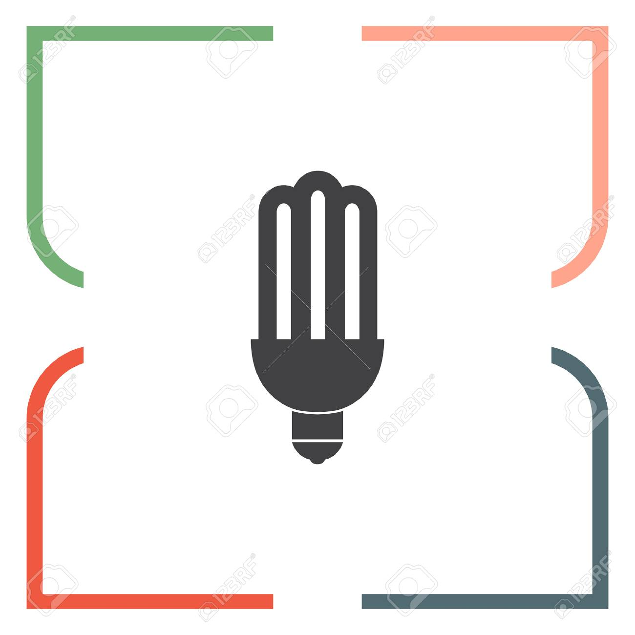 Fluorescent Light Vector Icon Bulb Sign Lantern Symbol Royalty