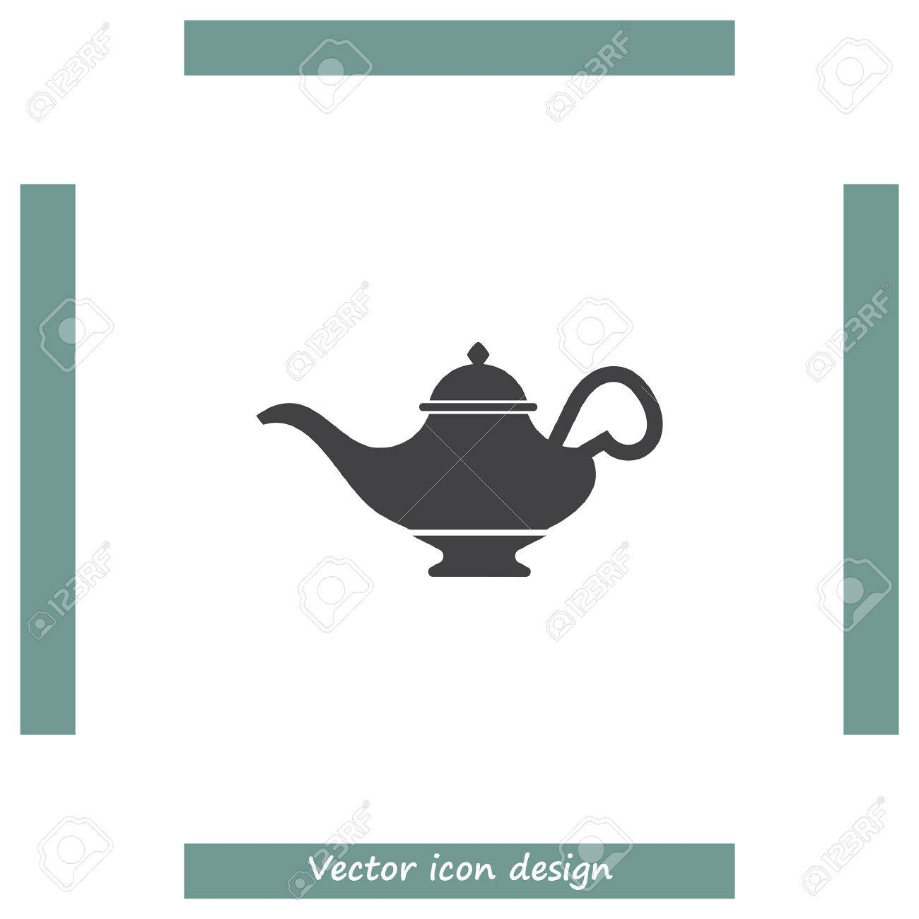 Magic Lamp Vector Icon Genie Sign Aladdin Symbol