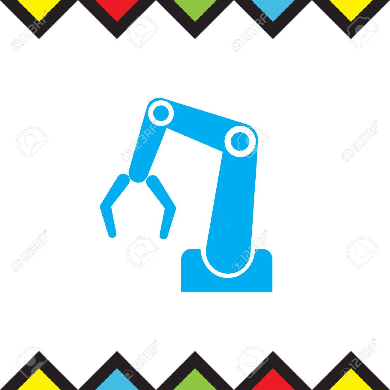 industry robot vector icon automatic manufacturing arm sign