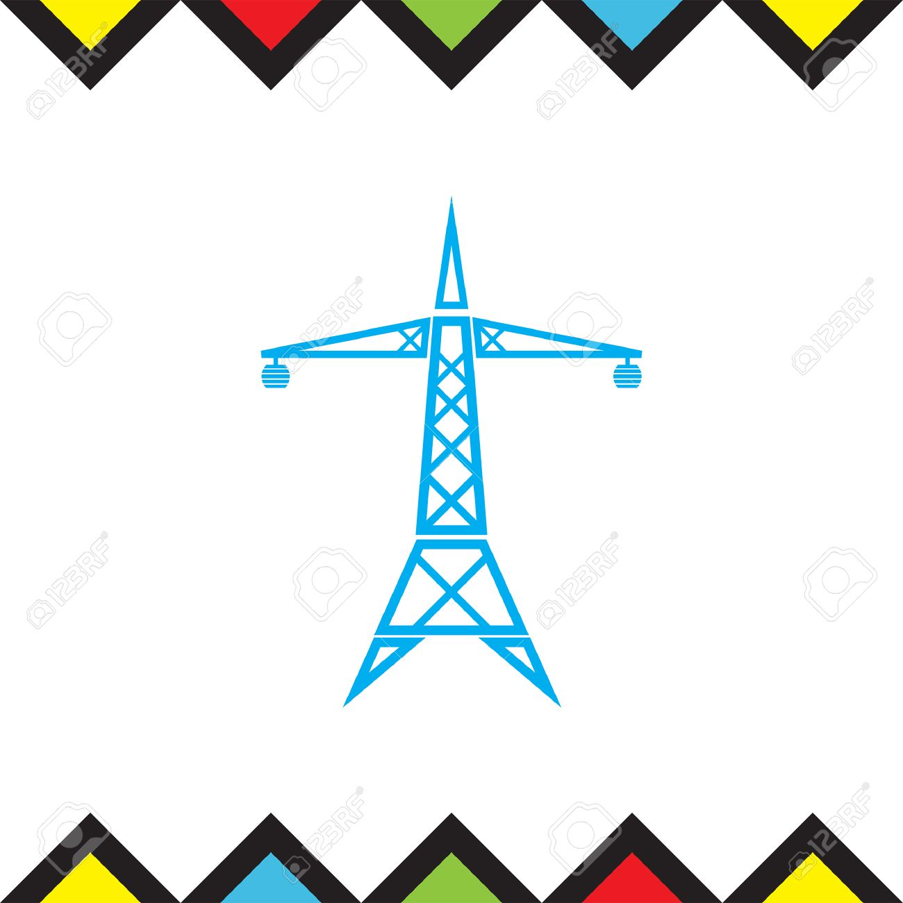 Power Line Vector Icon. Electric Tower Sign. High Electricity ...