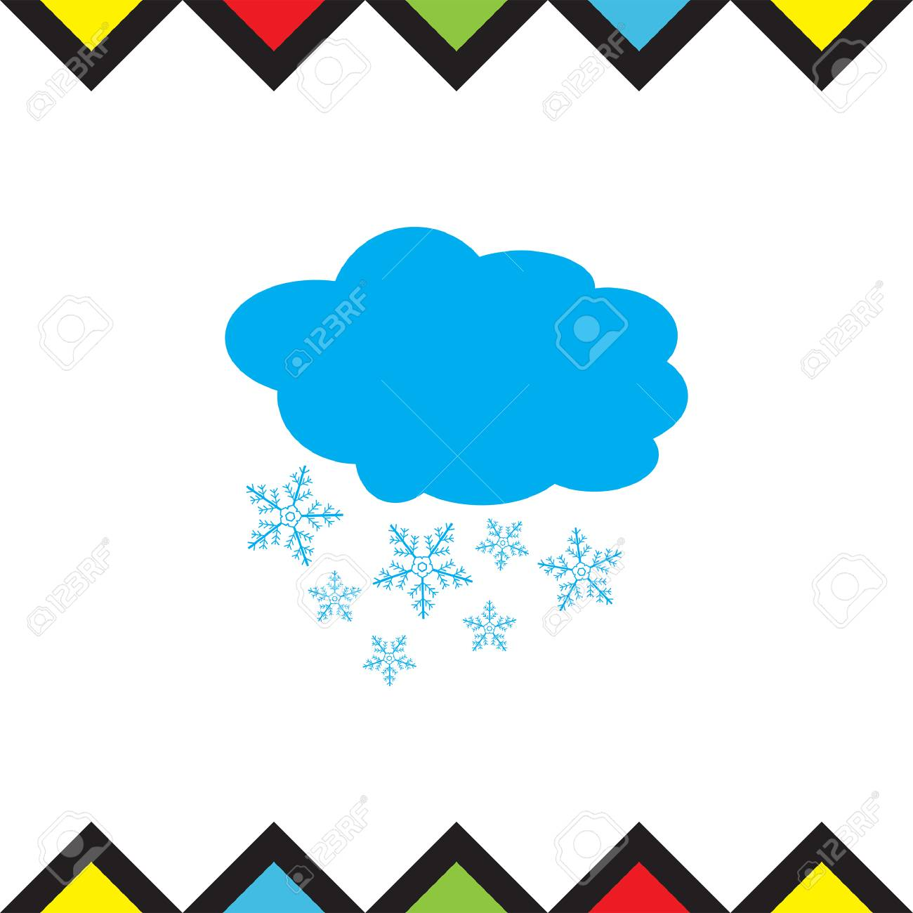 Cloud With Snowflake Vector Icon Snowing Weather Sign Snow