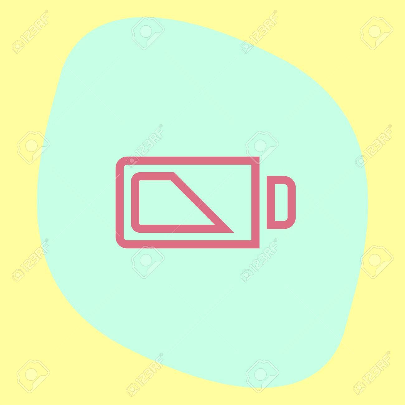 Batterie Halb Zeichen Linie Vektor-Symbol. Elektrische Leistung ...