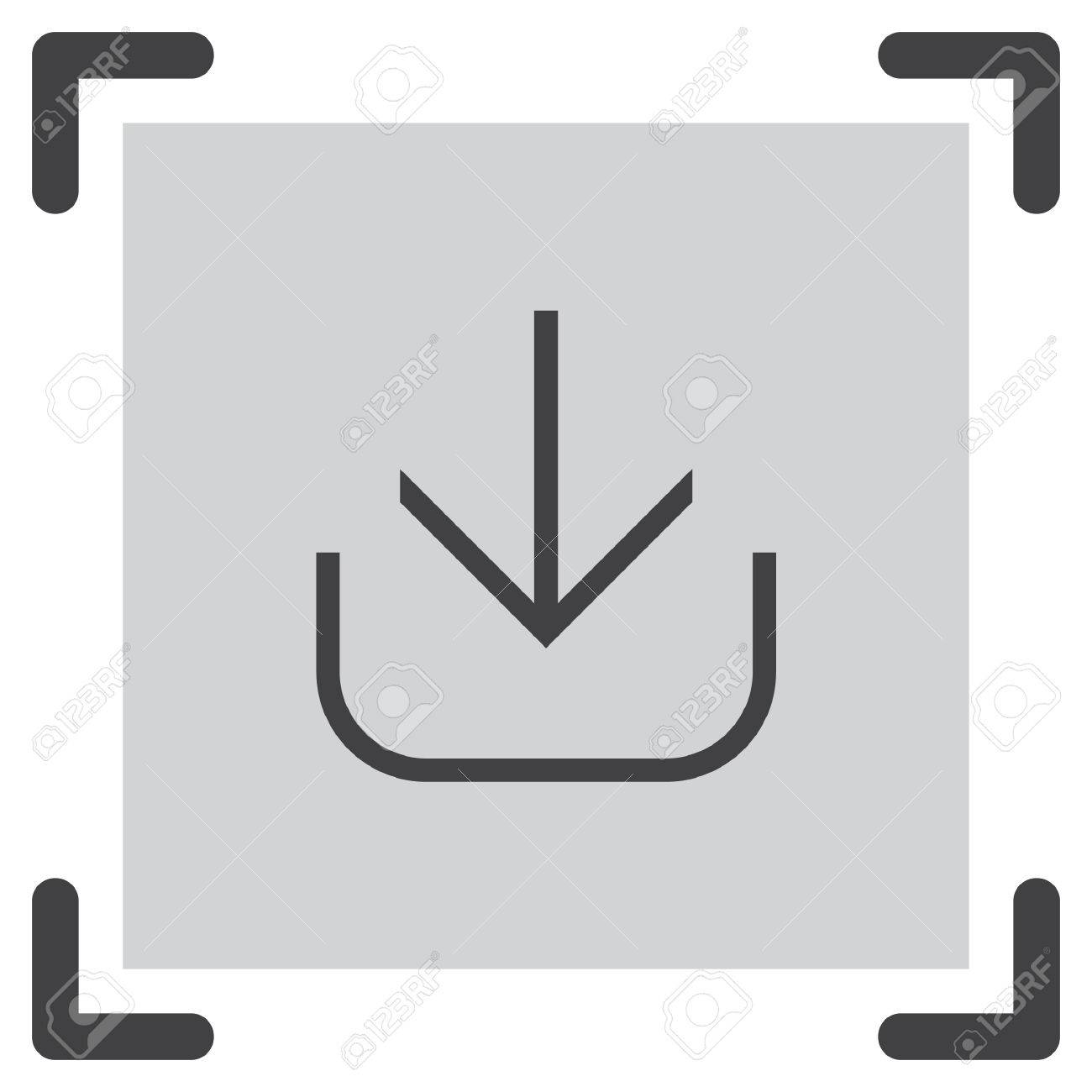 Download Line Vector Icon Down Arrow Sign Import Symbol Royalty