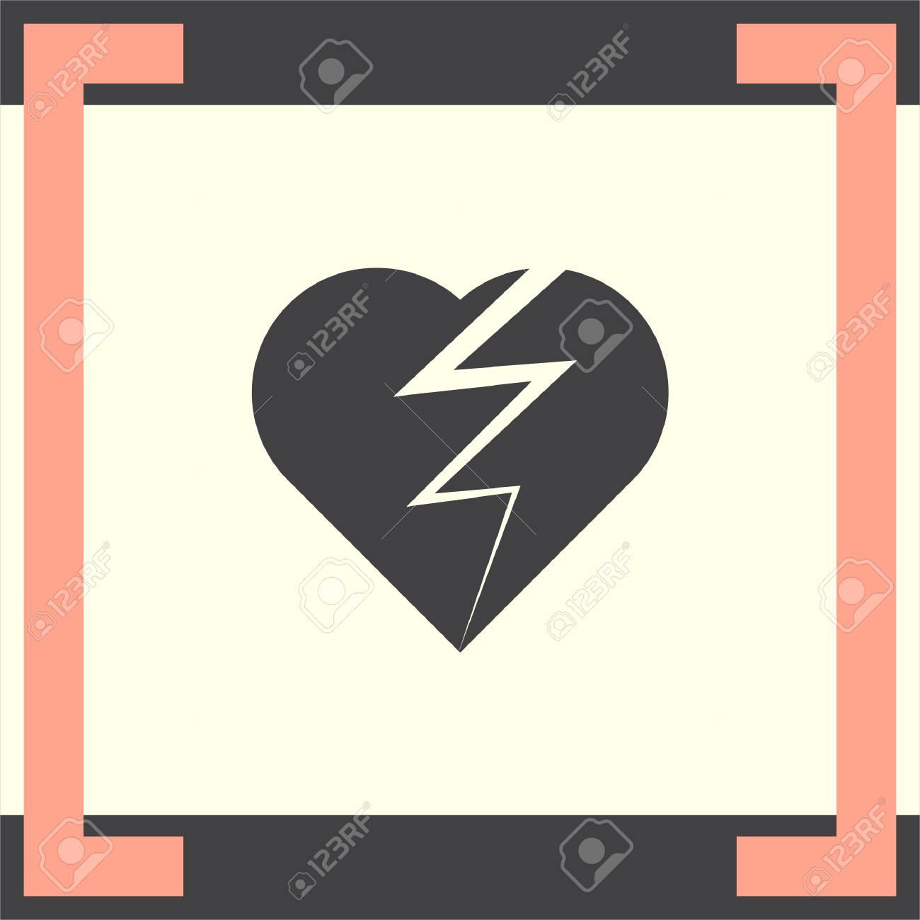 Broken Heart Vector Icon Divorce Symbol End Of Love Sign Royalty