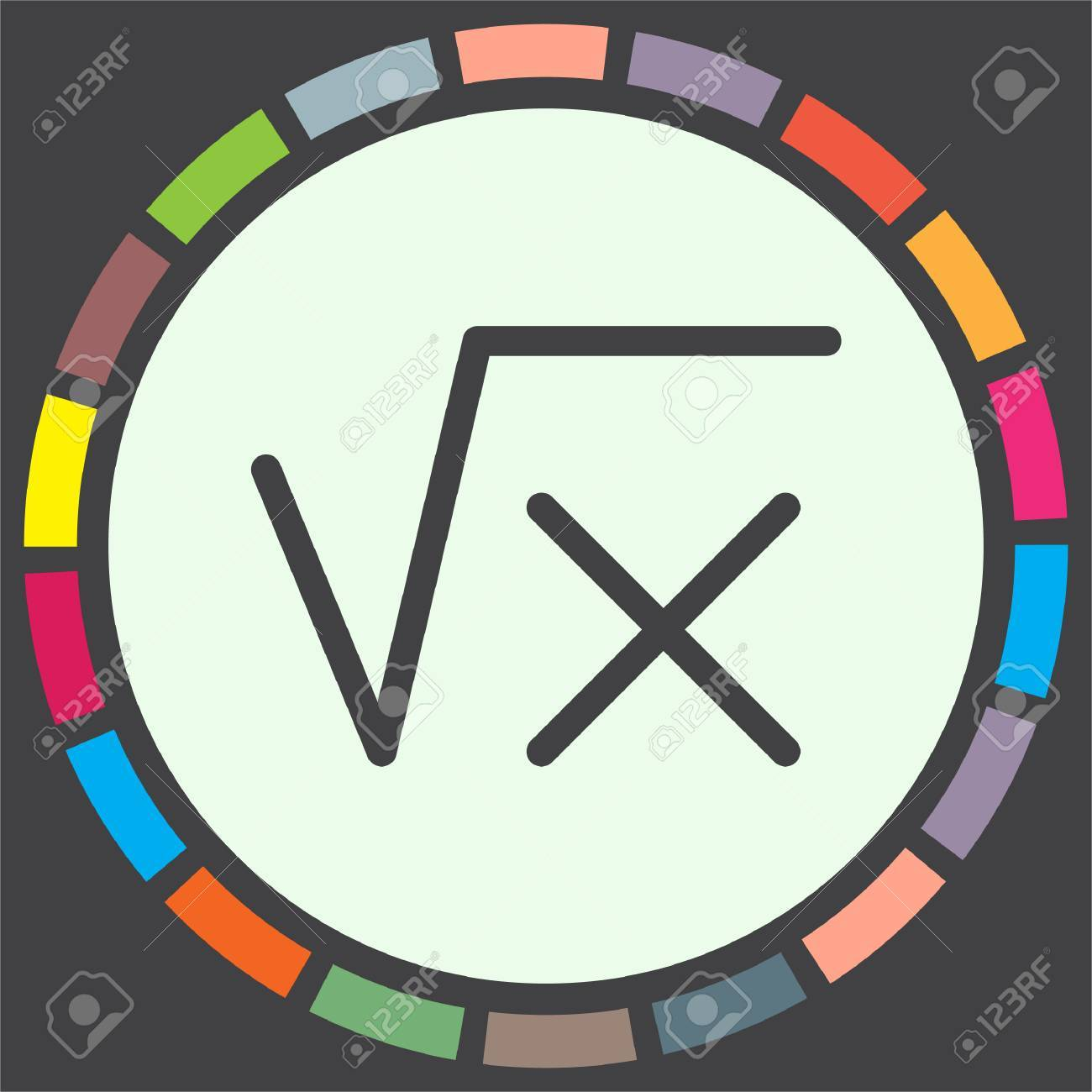Square Root Sign Line Vector Icon Calculator Symbol Math Sign