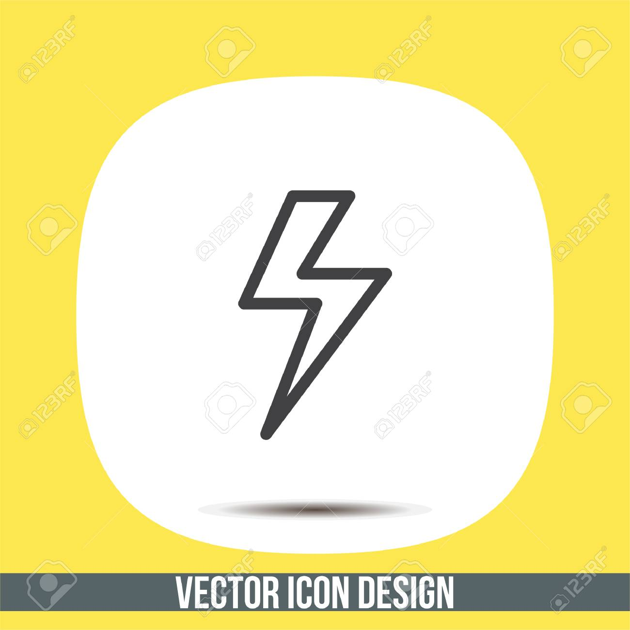 Lightening Bolt Sign Line Vector Icon. Power Supply Sign ...