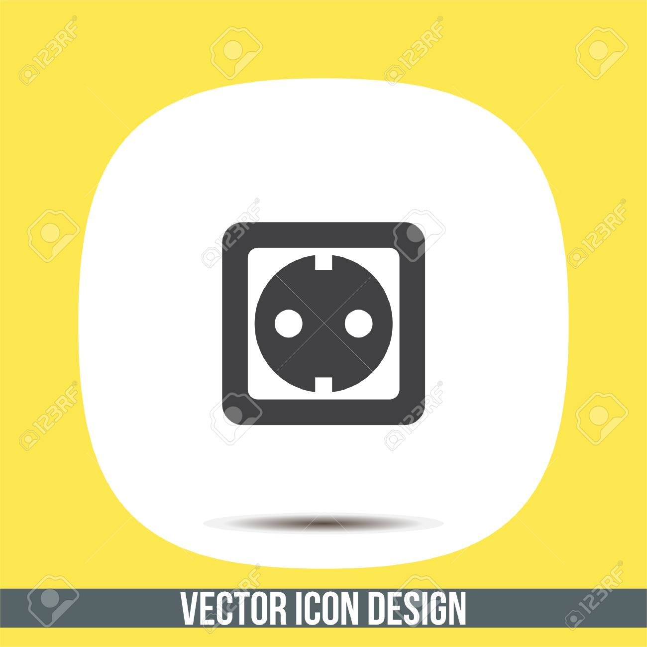 Power Socket Vector Icon Electric Outlet Sign Power Plug Symbol