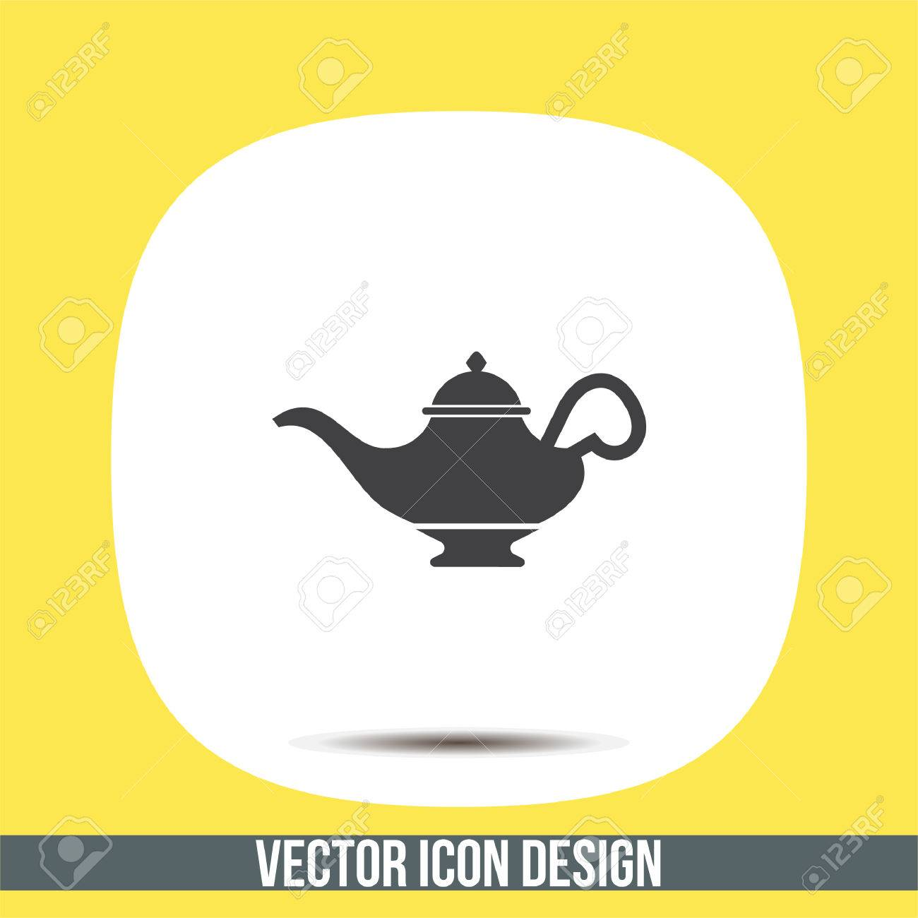 Magic Lamp Vector Icon. Genie Sign. Aladdin Symbol Royalty Free ... for Genie Icon  585hul
