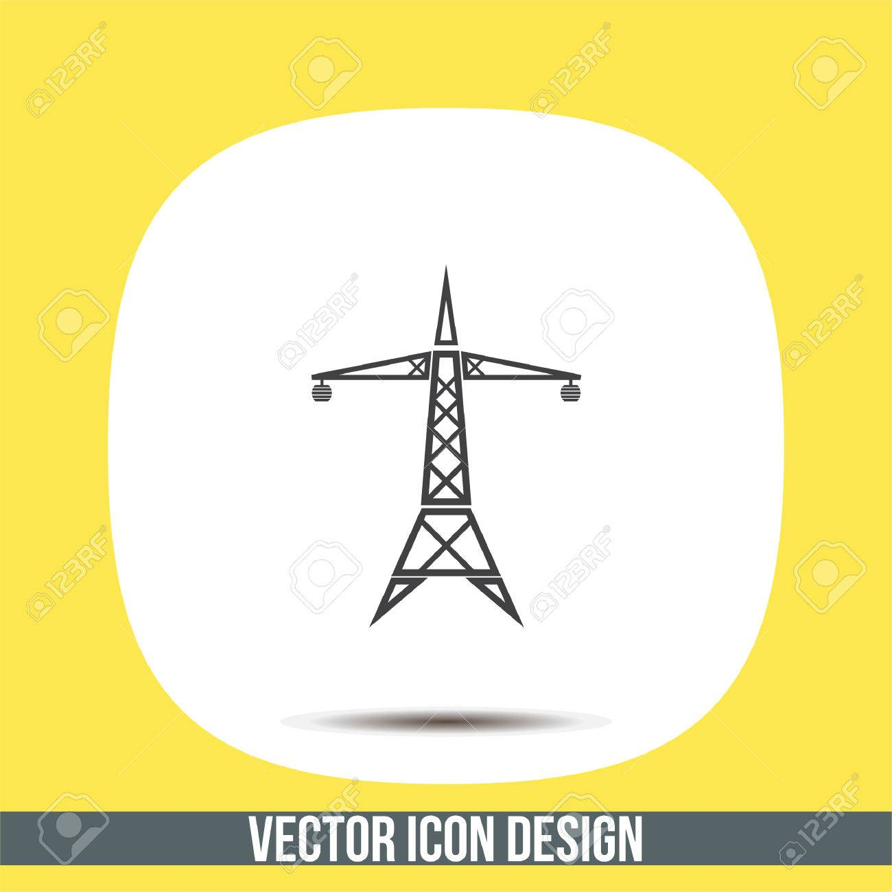 Power Line Vektor-Symbol. Elektrische Turm Zeichen. Hohe ...