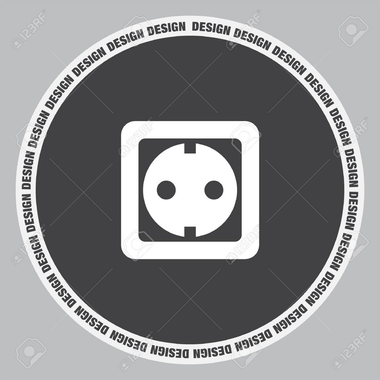 Power Socket Vector Icon Electric Outlet Sign Plug Symbol Stock