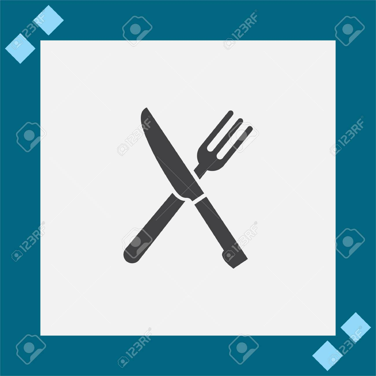 Knife And Fork Vector Icon Restaurant Sign Dinner And Lunch
