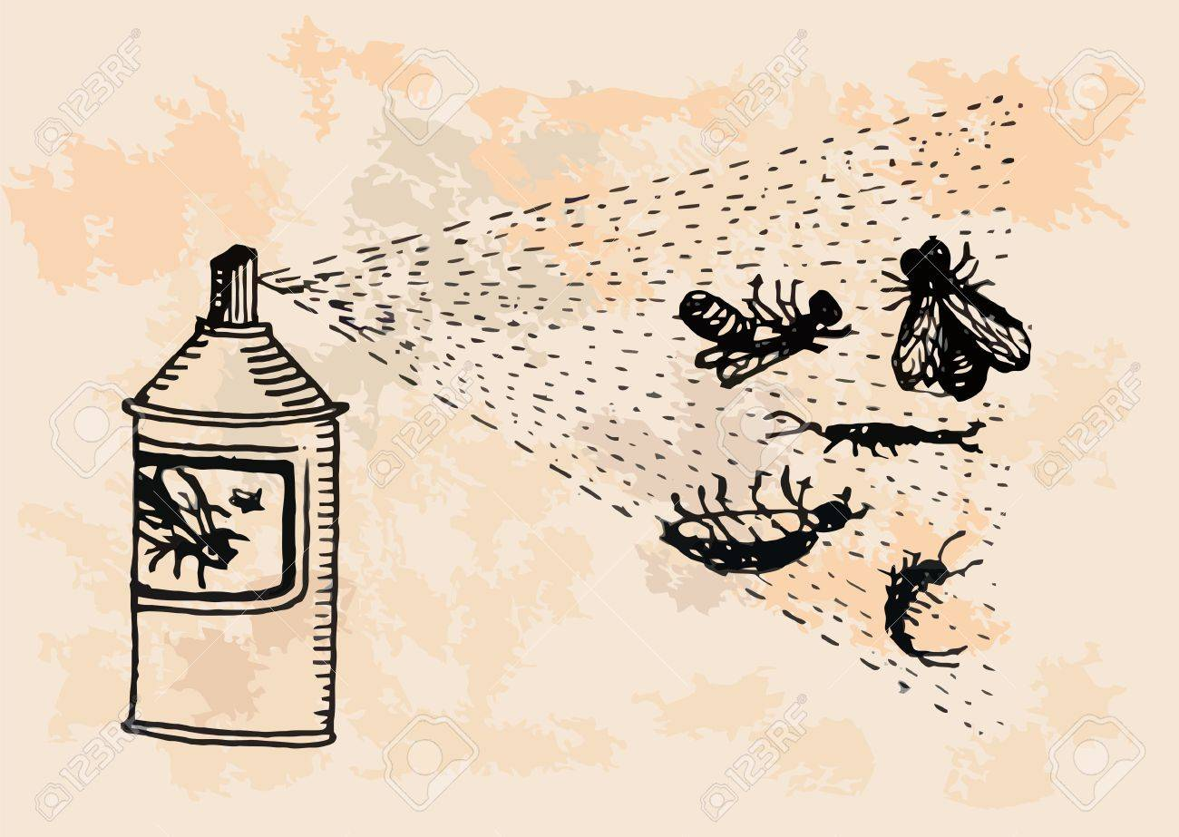 Insecticide is killing pests  retro design Stock Vector - 20858019
