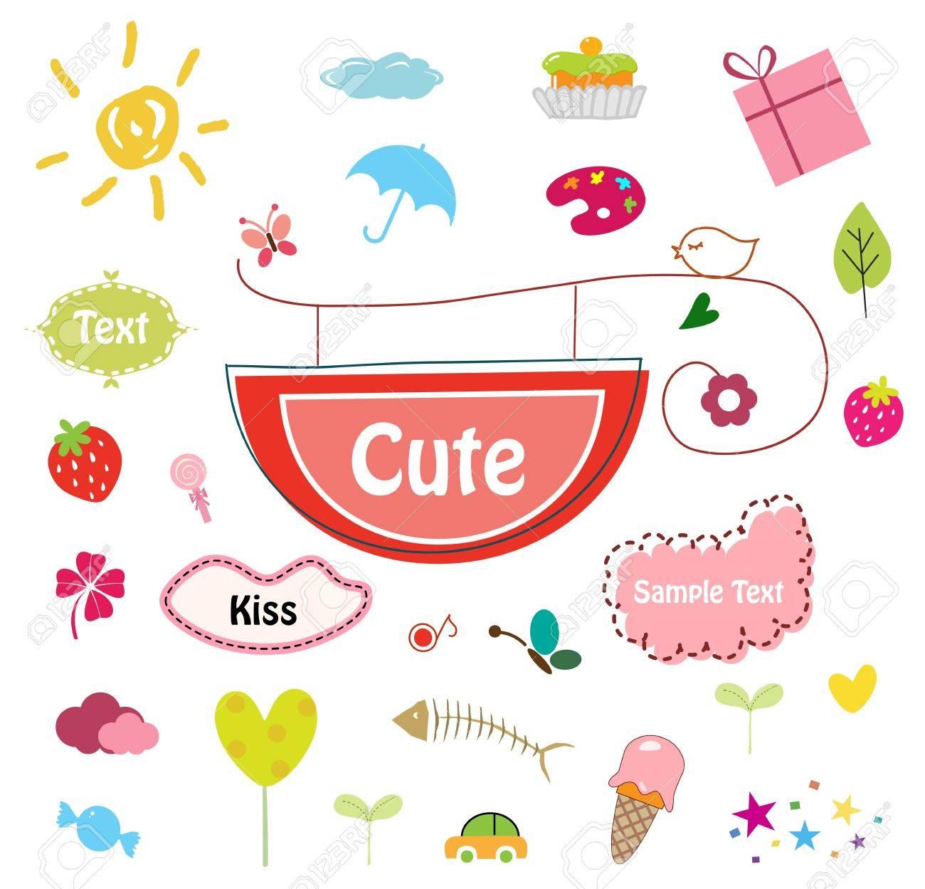Designed Cute Elements -   Illustration Stock Vector - 8640544