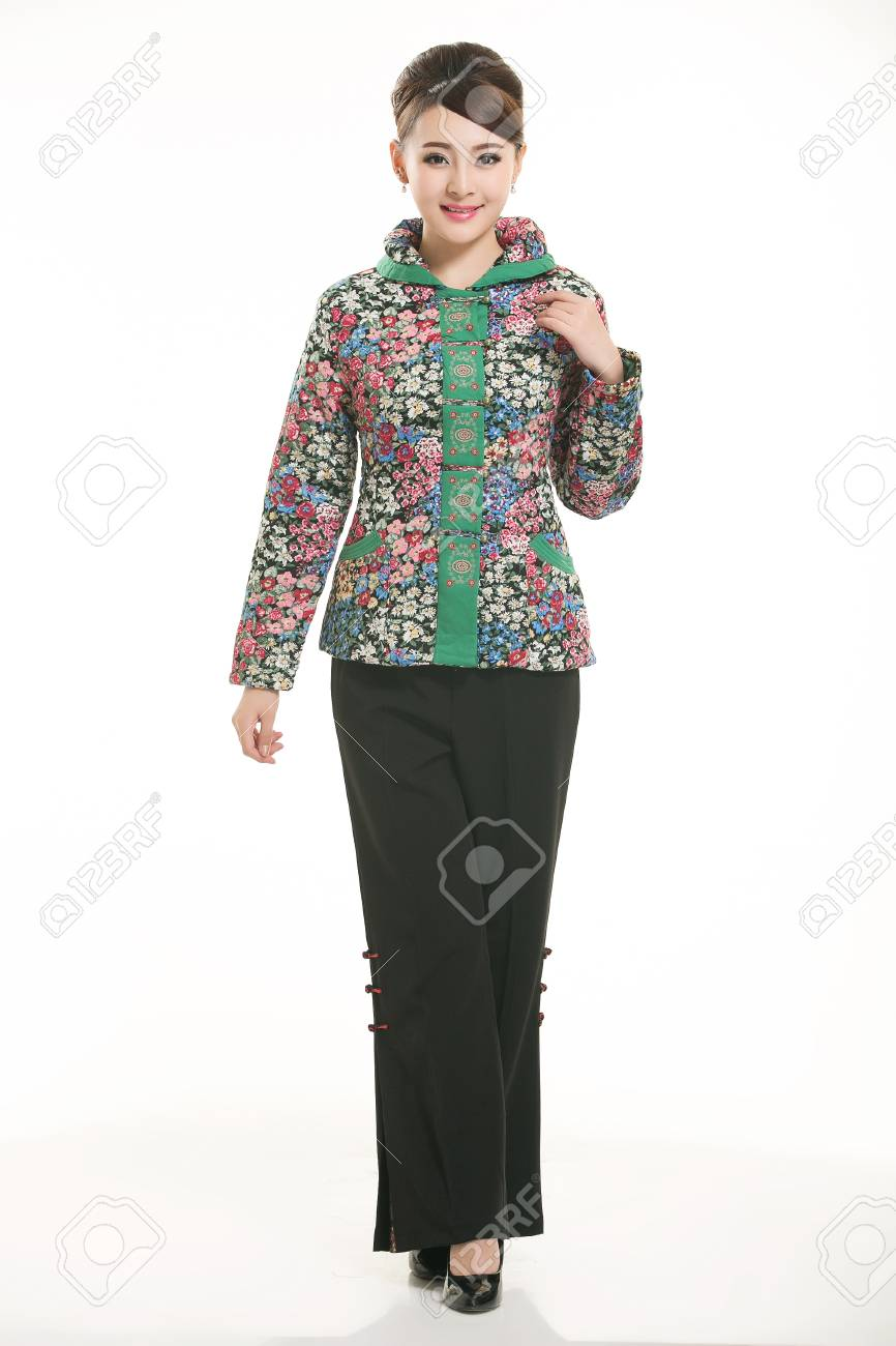 365745f48a1ad Stock Photo - Wearing cotton padded jacket China lady on white background