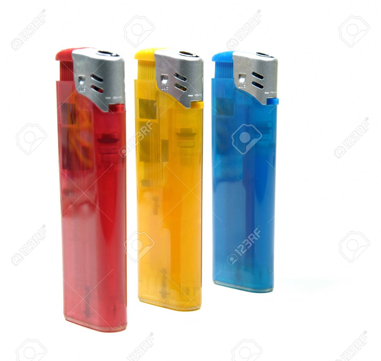 Three colorful lighters over white background Stock Photo - 8285908
