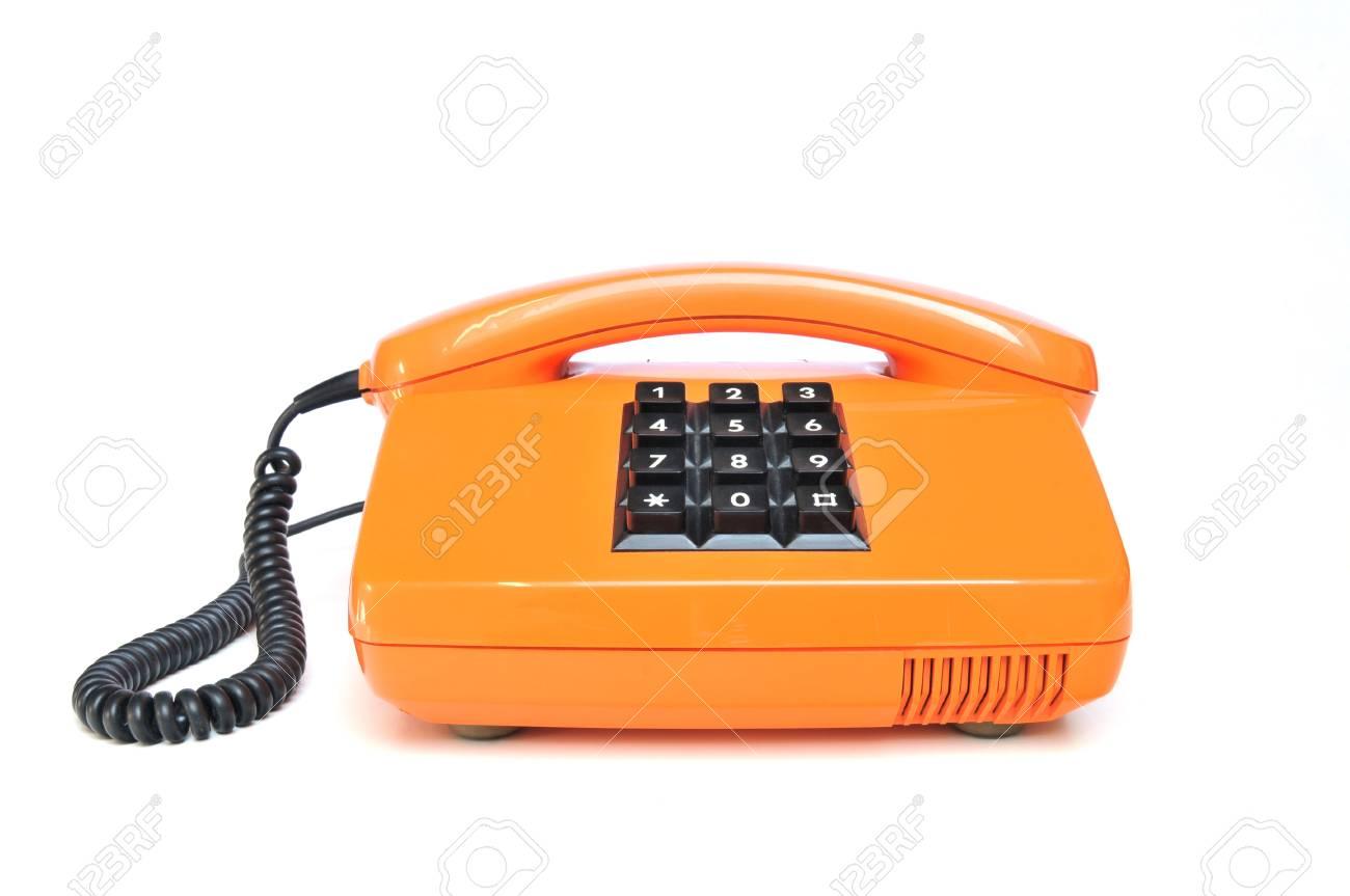 Retro telephone orange on white background Stock Photo - 13006027