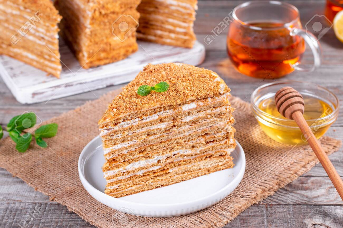 Homemade Honey Cake On A Table Selective Focus Stock Photo Picture And Royalty Free Image Image 139182637