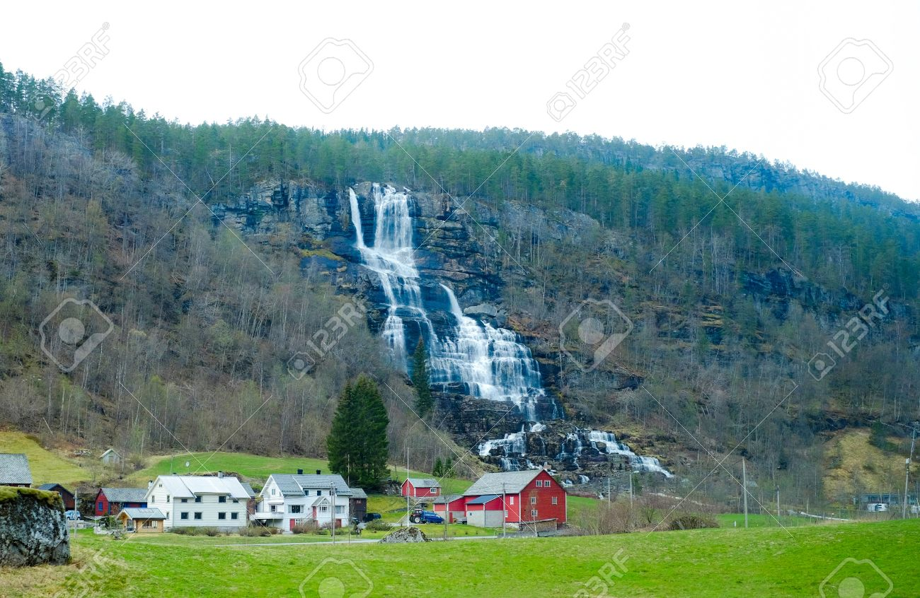 Waterfall And Home Farm House Nature Waterfall Architecture Stock
