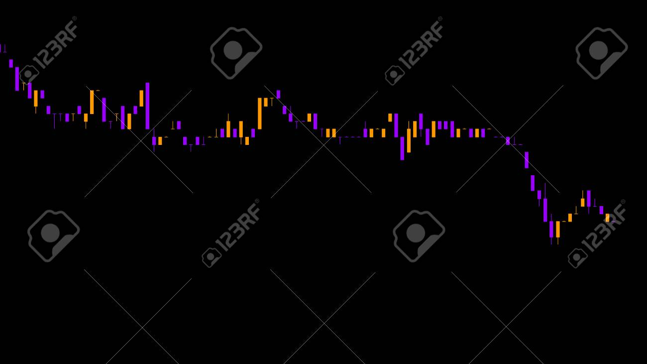 Candlestick chart on color background chart of stock market investment..