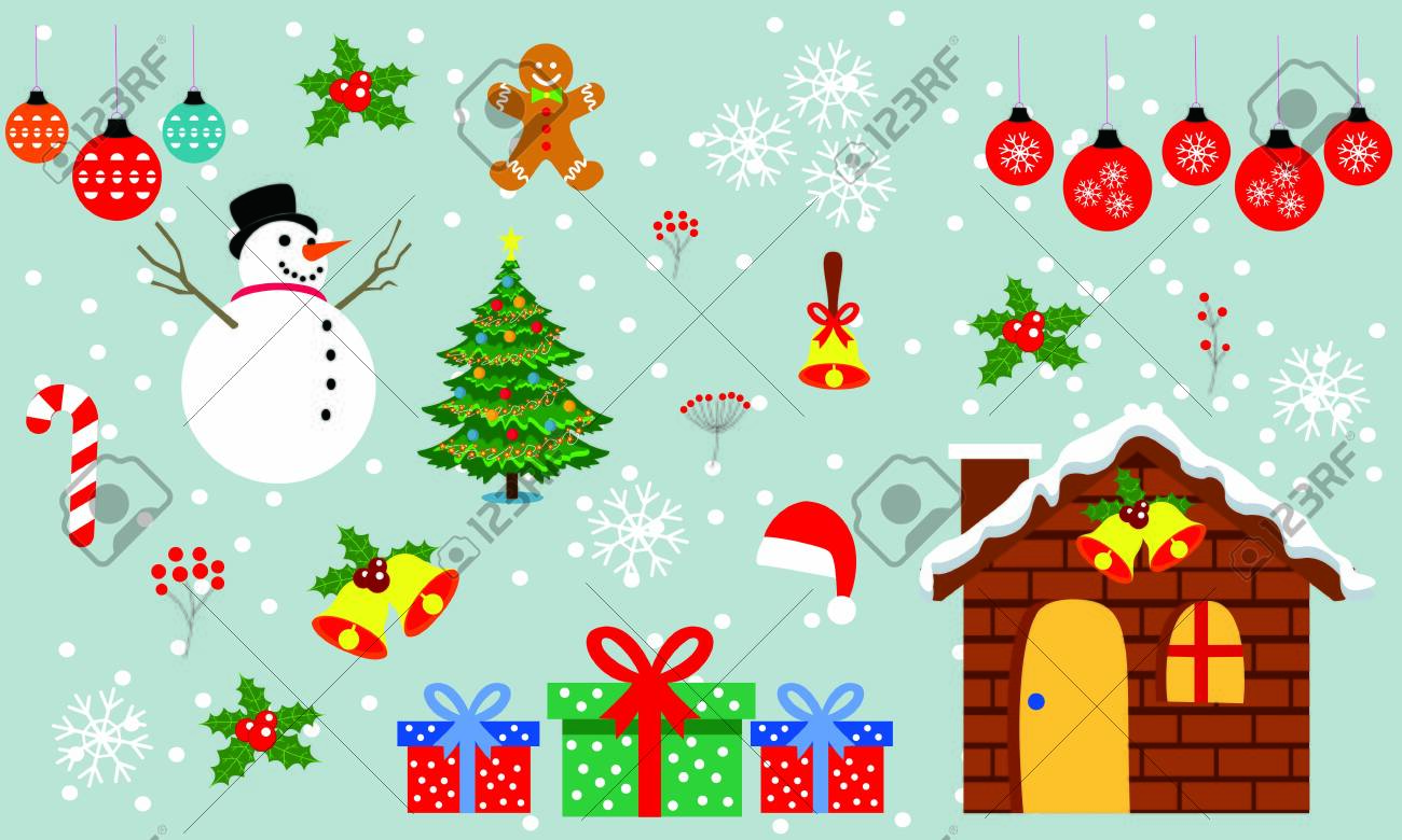 Merry christmas and christmas gift vector. Background illustration - 134726103