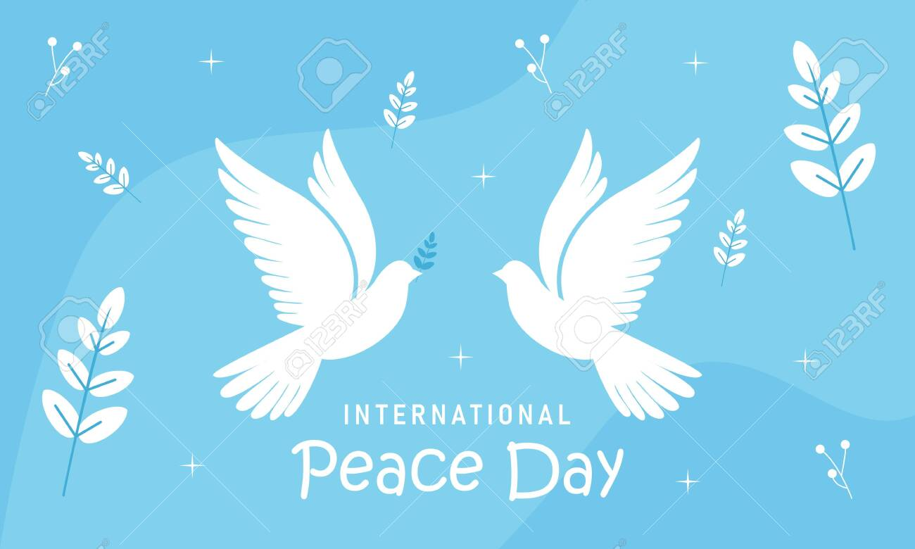 International day of peace with dove. Peace day background with dove - 151551209