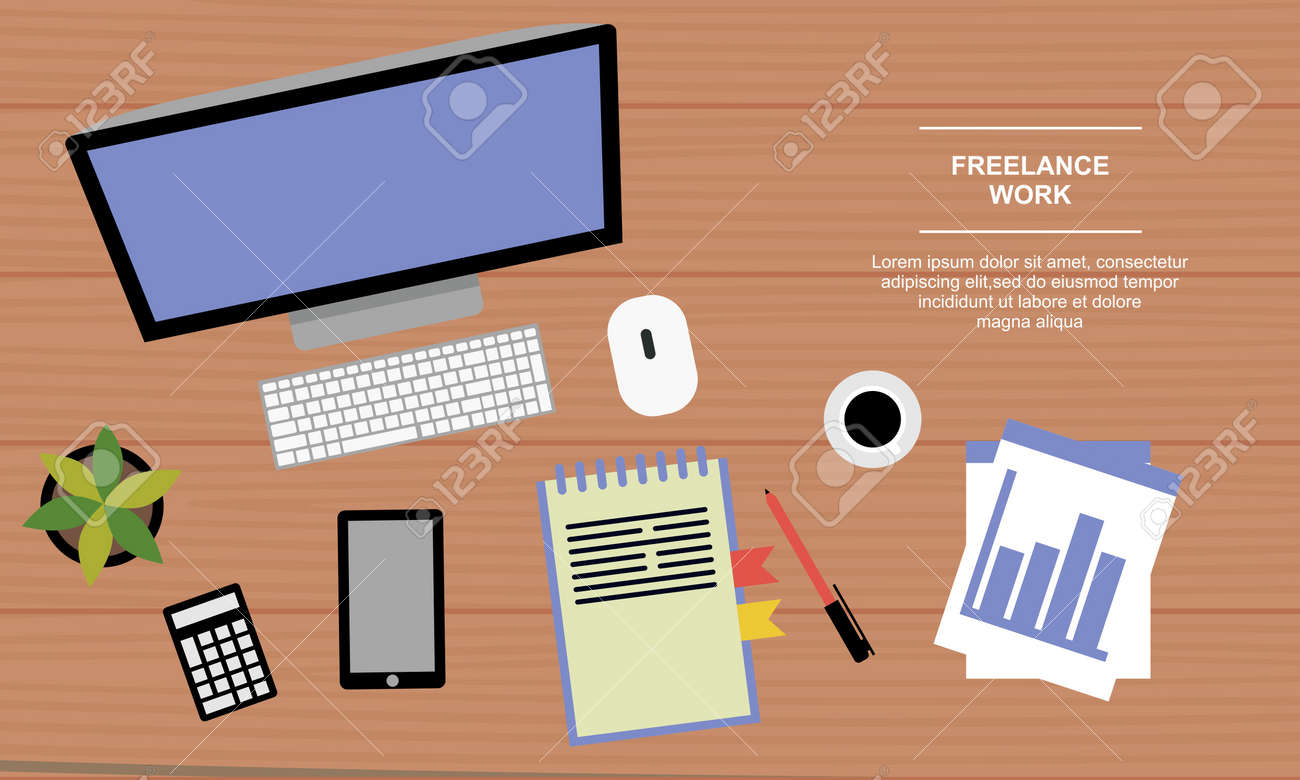 A business table top view. Work in a team. Objects lying on a wooden table. Banner. Vector flat illustration - 157540621