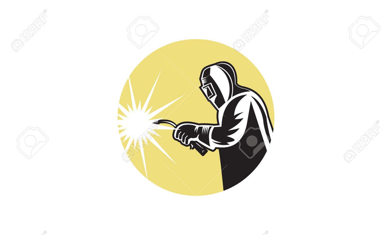 Welder worker welding torch retro. Logo vector - 166348126