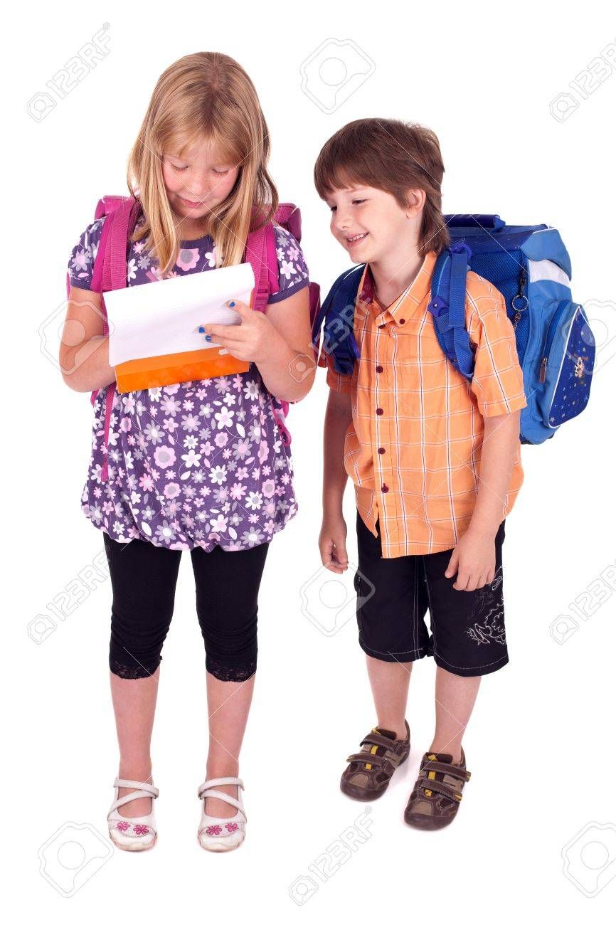 kids posing for back to school theme over white background Stock Photo - 7497840