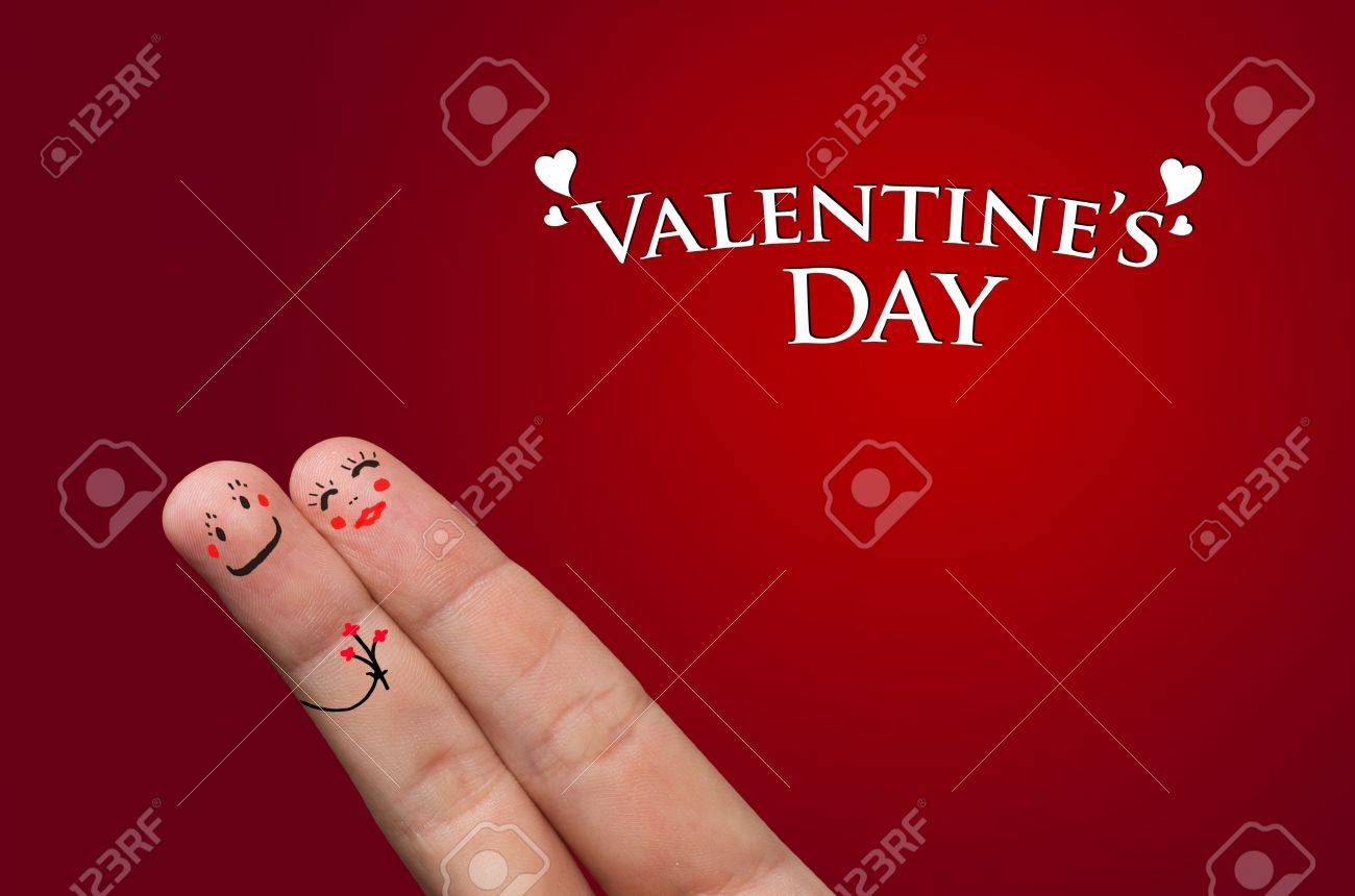 Finger hug with Abstract Lights and painted smiley Stock Photo - 8507178