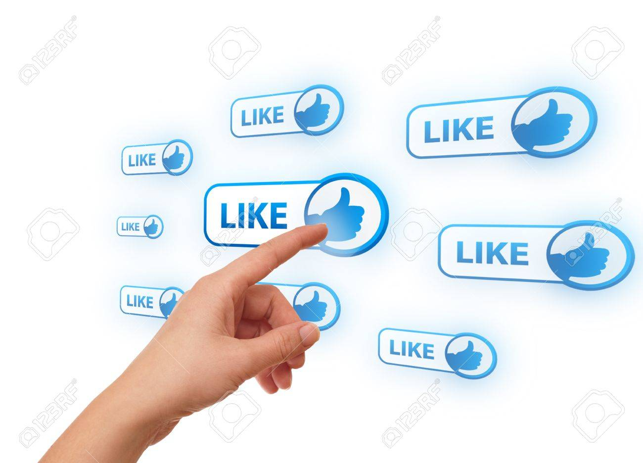 woman hand pressing Social Network icon Stock Photo - 8724519