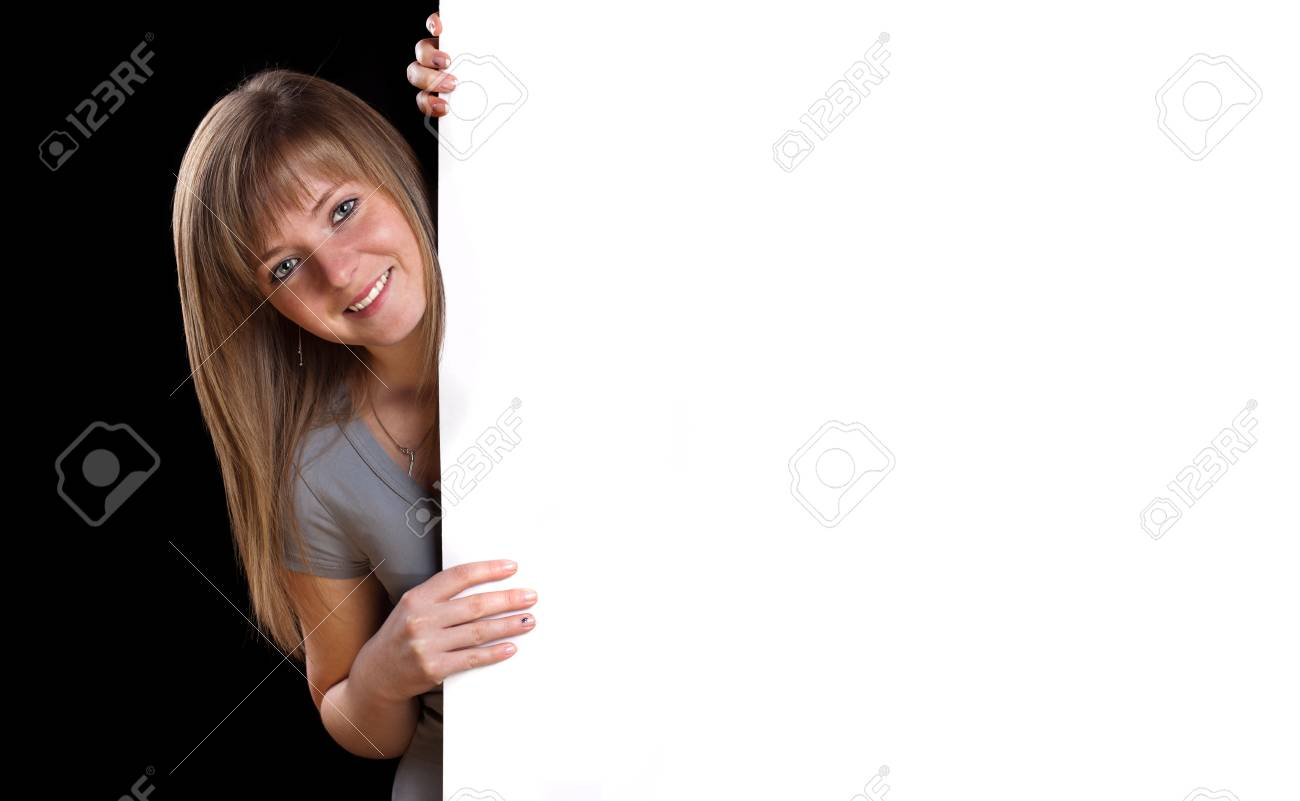 Pretty blonde girl with a blank presentation board Stock Photo - 9070681