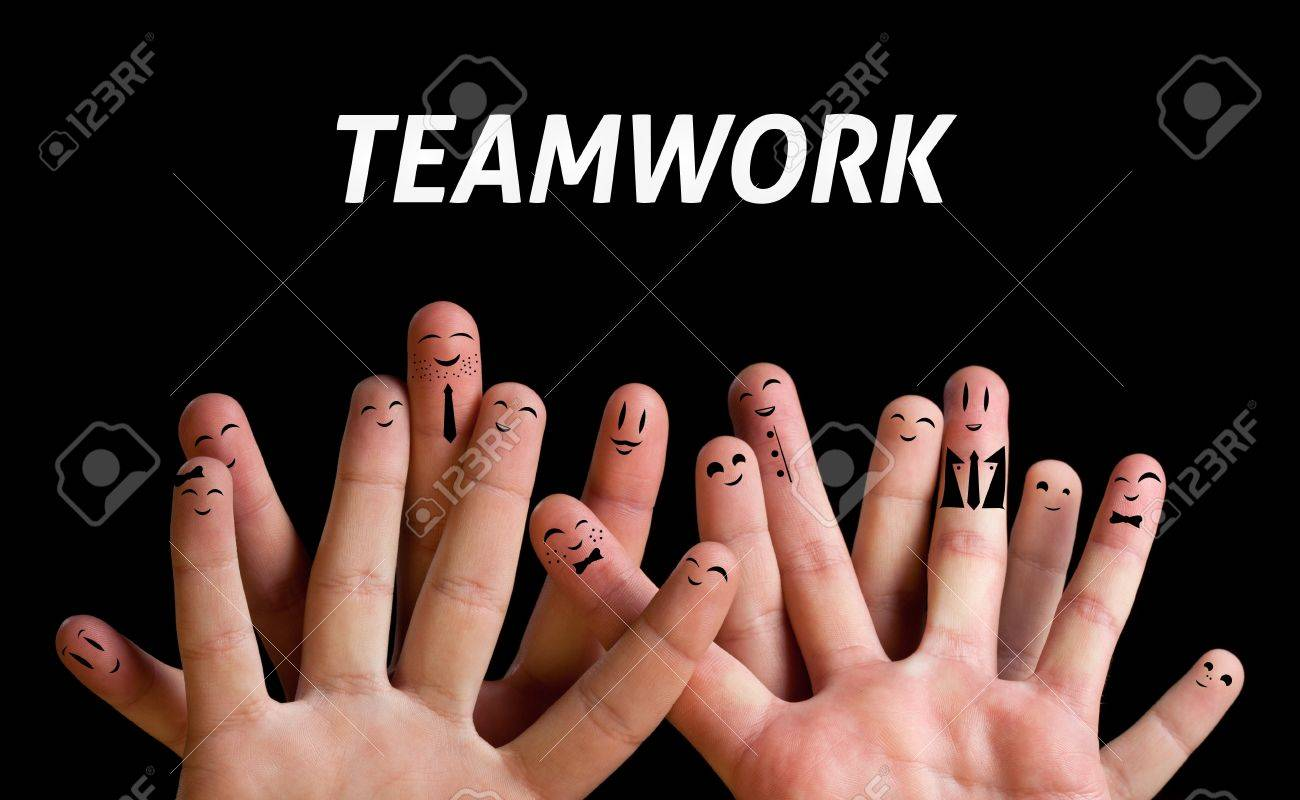 happy group of finger smileys 3 teamwork theme stock photo