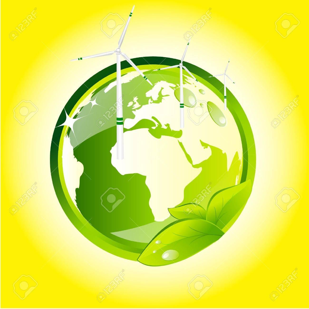 Eco globe with wind turbines Stock Vector - 9213747