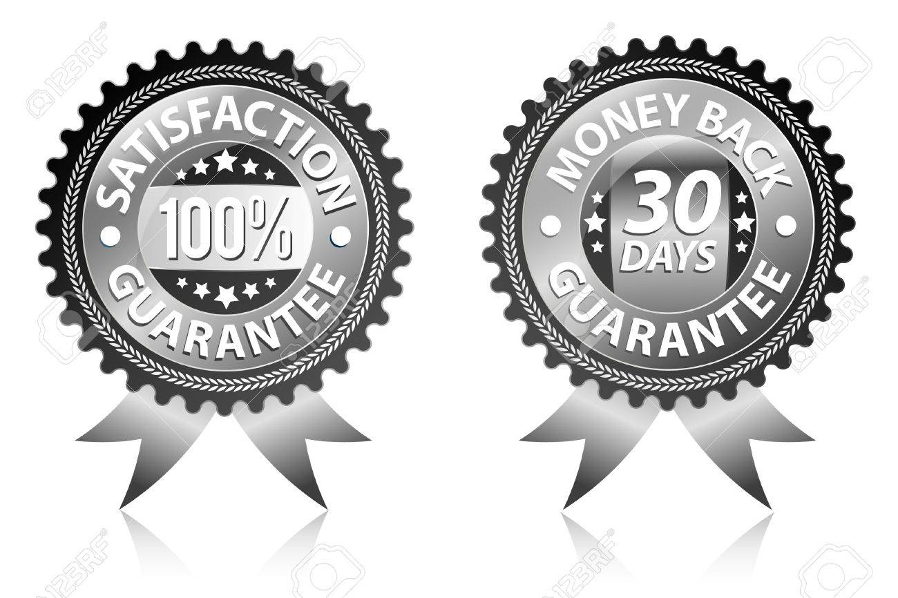 Satisfaction and money back guarantee black labels Stock Vector - 9213757