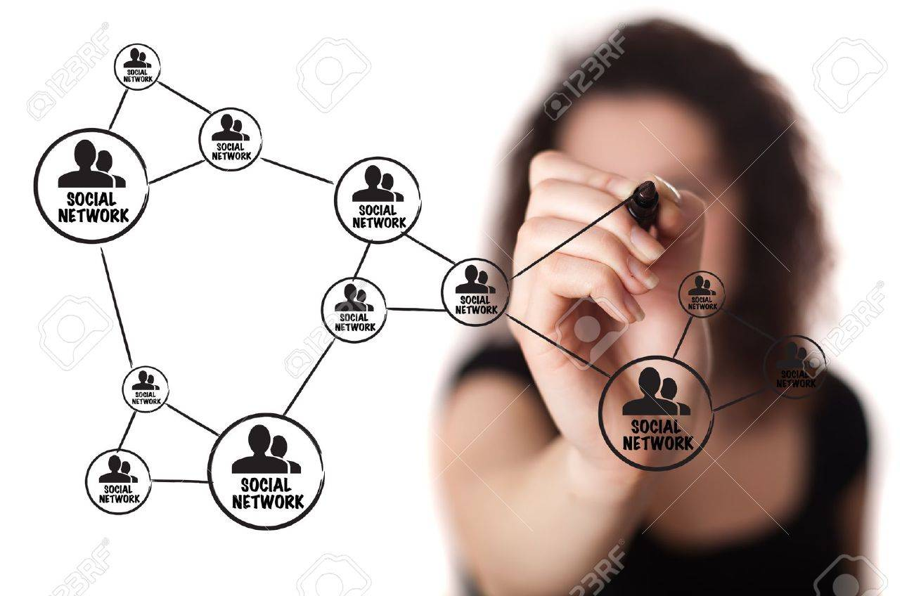 woman drawing social network structure in a whiteboard Stock Photo - 9249053