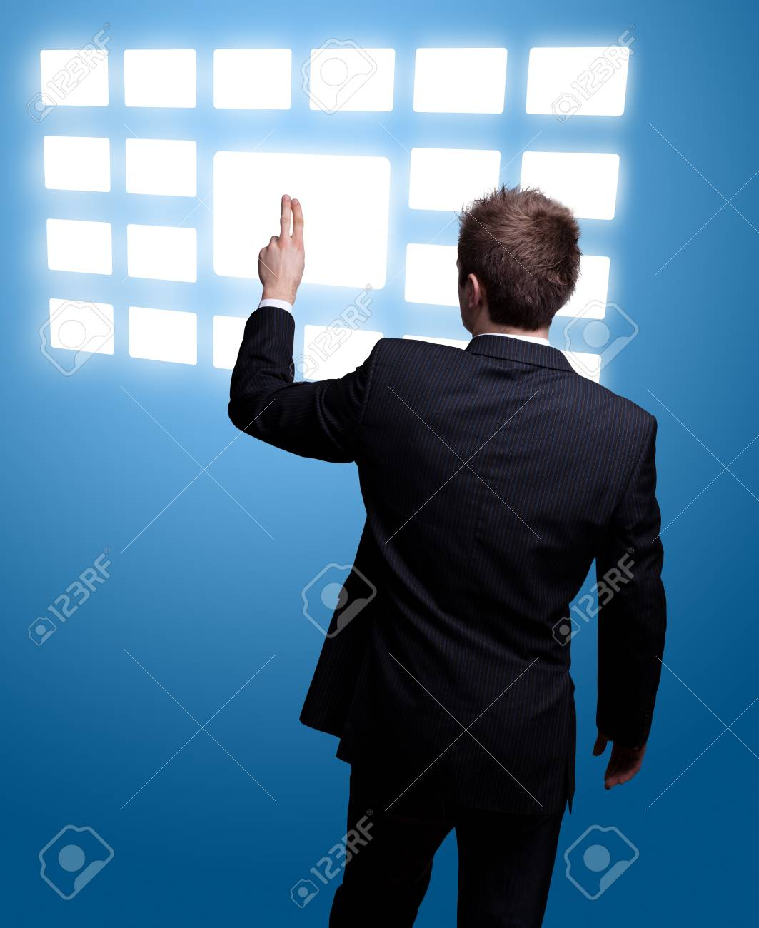 Businessman hand pressing digital button Stock Photo - 9289212